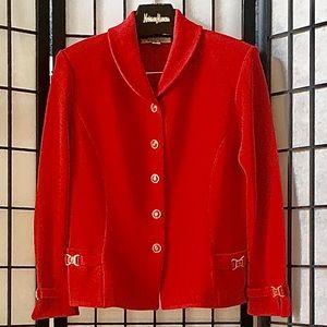 St John Collection Red Santana Knit Blazer 8